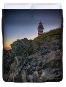 Dusk At West Quoddy Head Lighthouse Duvet Cover