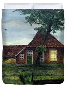 Dutch Farm At Dusk Duvet Cover