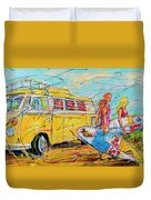 Dutch Holiday, Yellow Surf Bus Duvet Cover