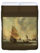 Dutch Ships In A Lively Breeze Duvet Cover
