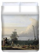 Dutch Ships In The Roads Of Texel Duvet Cover