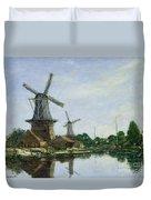 Dutch Windmills Duvet Cover by Eugene Louis Boudin