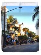 Duval Street In Key West Duvet Cover