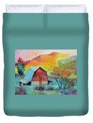 Dyeleaf Mountain Barn Sunrise Duvet Cover