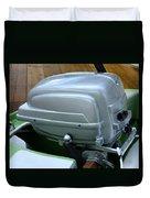 Vintage Silver Outboard Boat Motor Duvet Cover