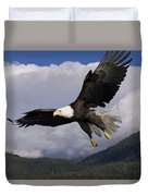 Eagle Flying In Sunlight Duvet Cover