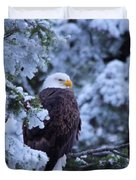Eagle In A Frosted Tree Duvet Cover