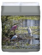 Eagle Lakes Park - Roseate Spoonbill And Friends, Socializing Duvet Cover