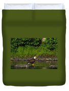 Eagle On A River Rock Duvet Cover