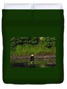 Eagle On River Rock II Duvet Cover