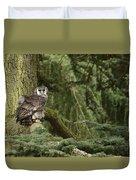 Eagle Owl In Forest Duvet Cover