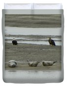 Eagles And Seals Duvet Cover