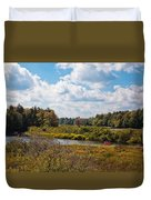Early Autumn At The Tobie Trail Bridge Duvet Cover