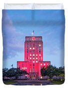 Early Dawn Architectural Photograph Of Houston City Hall And Hermann Square - Downtown Houston Texas Duvet Cover