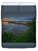 Early Day At The Dock Duvet Cover