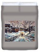 Original Montreal Paintings For Sale Winter Walk After The Snowfall Exceptional Canadian Art Spandau Duvet Cover