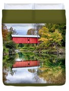 Early Fall Colors Surround A Covered Bridge In Vermont Duvet Cover