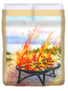 Early Morning Beach Bonfire Duvet Cover