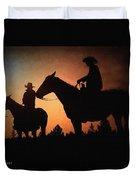 Early Morning Cowboys Duvet Cover