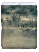 Early Morning Frost On The River Duvet Cover