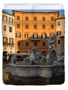 Early Morning Glow - Neptune Fountain On Piazza Navona In Rome Italy Duvet Cover