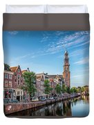 Early Morning In Amsterdam With Canal Duvet Cover