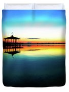 Early Morning Rays Over The Boat House Duvet Cover