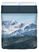 Early Morning Snow On Pikes Peak Duvet Cover