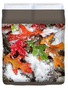 Early Snow During Autumn  Duvet Cover