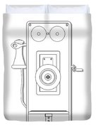 Early Telephone Line Drawing Duvet Cover