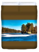 Early Winter On Old Forge Pond Duvet Cover