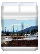 Early Winter On The Yellowstone Duvet Cover