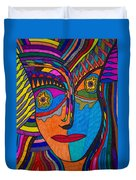 Earth And Aqua Mask - Abstract Face Duvet Cover