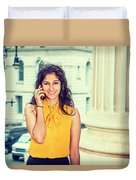 East Indian Woman Calling Outside Duvet Cover