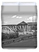 East St. Claire Covered Bridge Black And White Duvet Cover