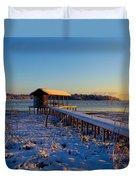 East Texas Snow, Lake Bob Sandlin, Texas. Duvet Cover