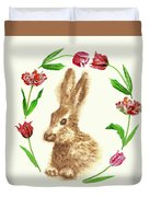 Easter Background With Rabbit Duvet Cover