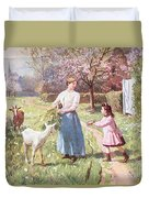 Easter Eggs In The Country Duvet Cover