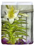 Easter Lily And Doll Duvet Cover