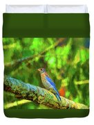 Eastern Blue Bird With Flair Duvet Cover