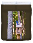 Eastern Bluebird Perched On Birdhouse Duvet Cover