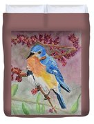 Eastern Bluebird Vertical  Duvet Cover
