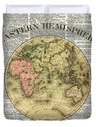 Eastern Hemisphere Earth Map Over Dictionary Page Duvet Cover