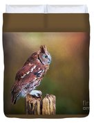 Eastern Screech Owl Red Morph Profile Duvet Cover