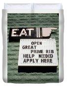 Eat Sign Duvet Cover
