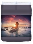 Ecola State Park Beach Sunset Pano Duvet Cover
