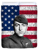 Eddie Rickenbacker And The American Flag Duvet Cover