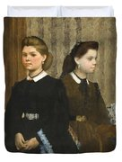 Edgar Degas - The Bellelli Sisters Giovanna And Giuliana Bellelli Duvet Cover
