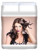Edgy Hair Fashion Model With Brunette Hairstyle Duvet Cover