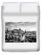 Edinburgh From Calton Hill.    Black And White Duvet Cover